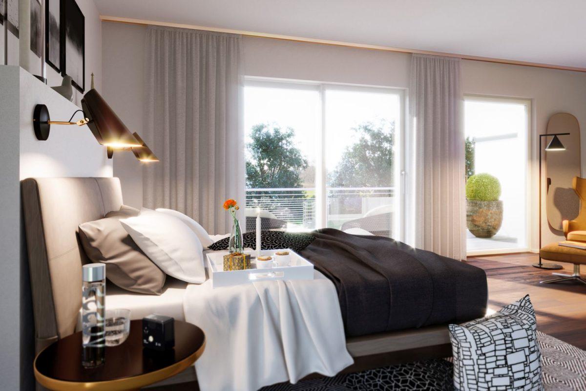 Celebration 122 V6 - Ein Wohnzimmer mit Möbeln und einem großen Fenster - Haus