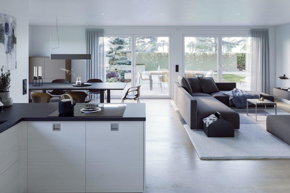 AMBIENCE 77 V3 - Eine Ansicht eines mit Möbeln gefüllten Wohnzimmers und eines großen Fensters - Bungalow