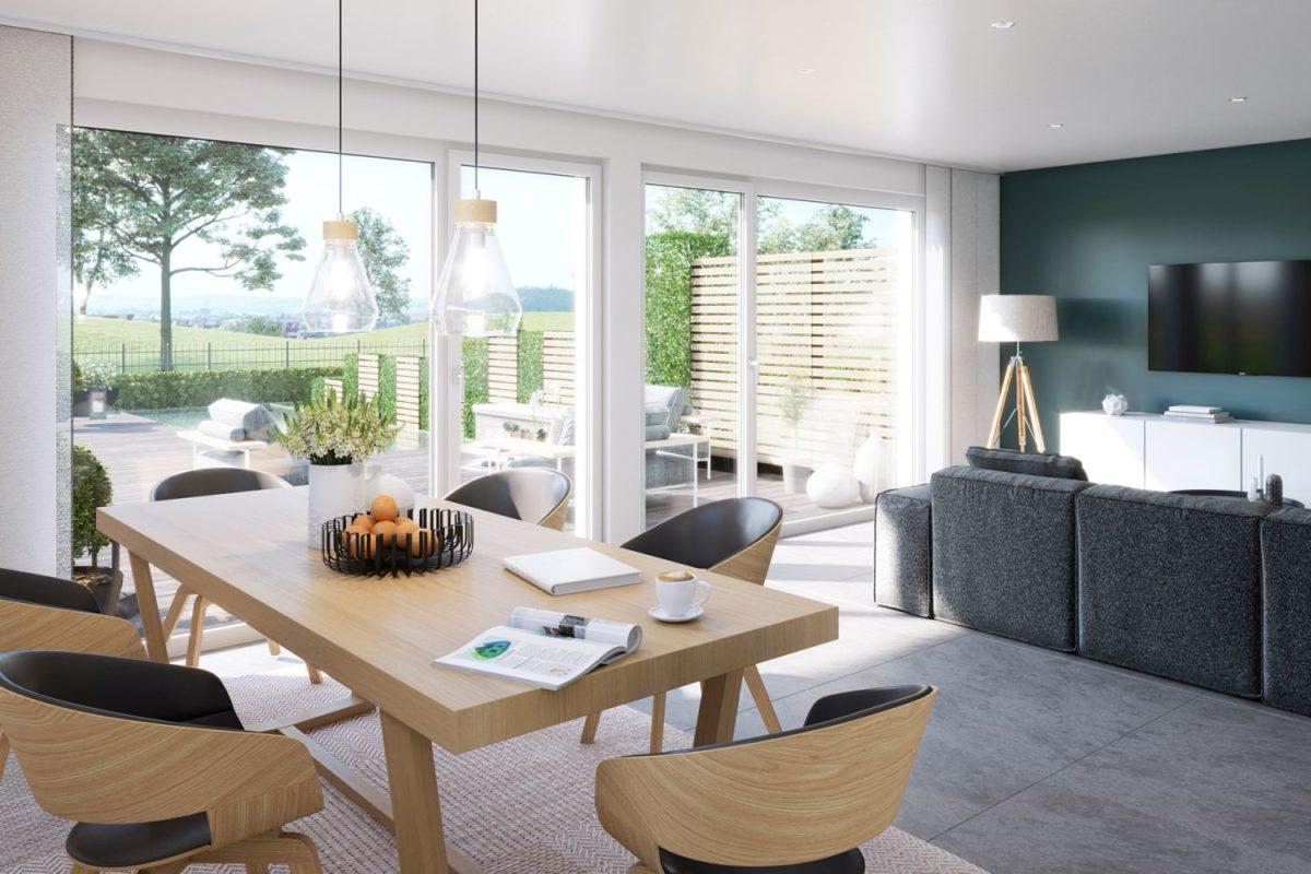 Celebration 122 V6 - Ein Wohnzimmer mit Möbeln und einem großen Fenster - Duplex