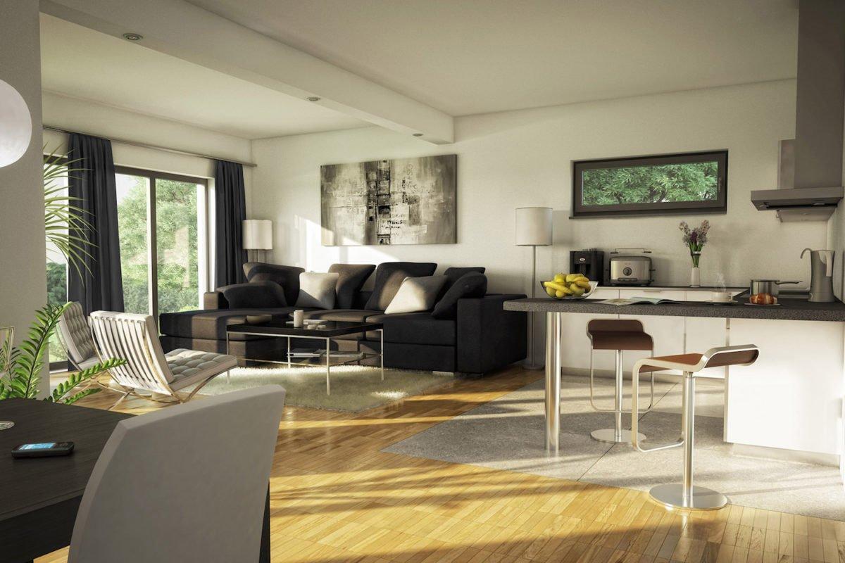 AMBIENCE 111 V2 - Ein Wohnzimmer mit Möbeln und einem großen Fenster - Bien-Zenker