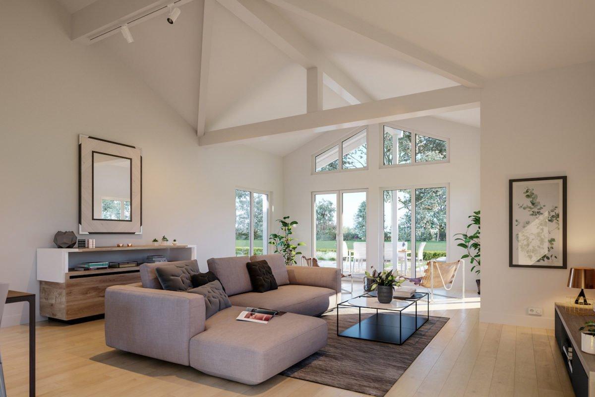 AMBIENCE 100 V2 - Ein Wohnzimmer mit Möbeln und einem Flachbildfernseher - Bien-Zenker