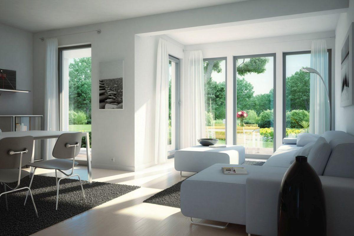 Automatisch gespeicherter Entwurf - Eine Ansicht eines mit Möbeln gefüllten Wohnzimmers und eines großen Fensters - Haus