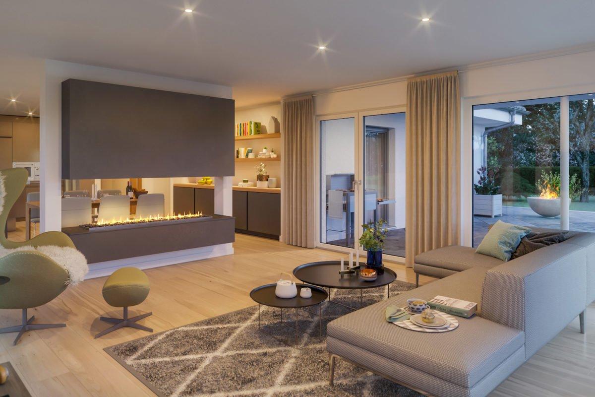 AMBIENCE 110 V2 - Ein Wohnzimmer mit Möbeln und einem Flachbildfernseher - Bungalow