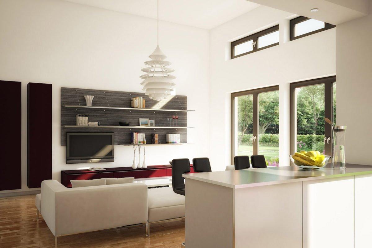 AMBIENCE 111 V4 - Ein Wohnzimmer mit Möbeln und einem Flachbildfernseher - Bungalow
