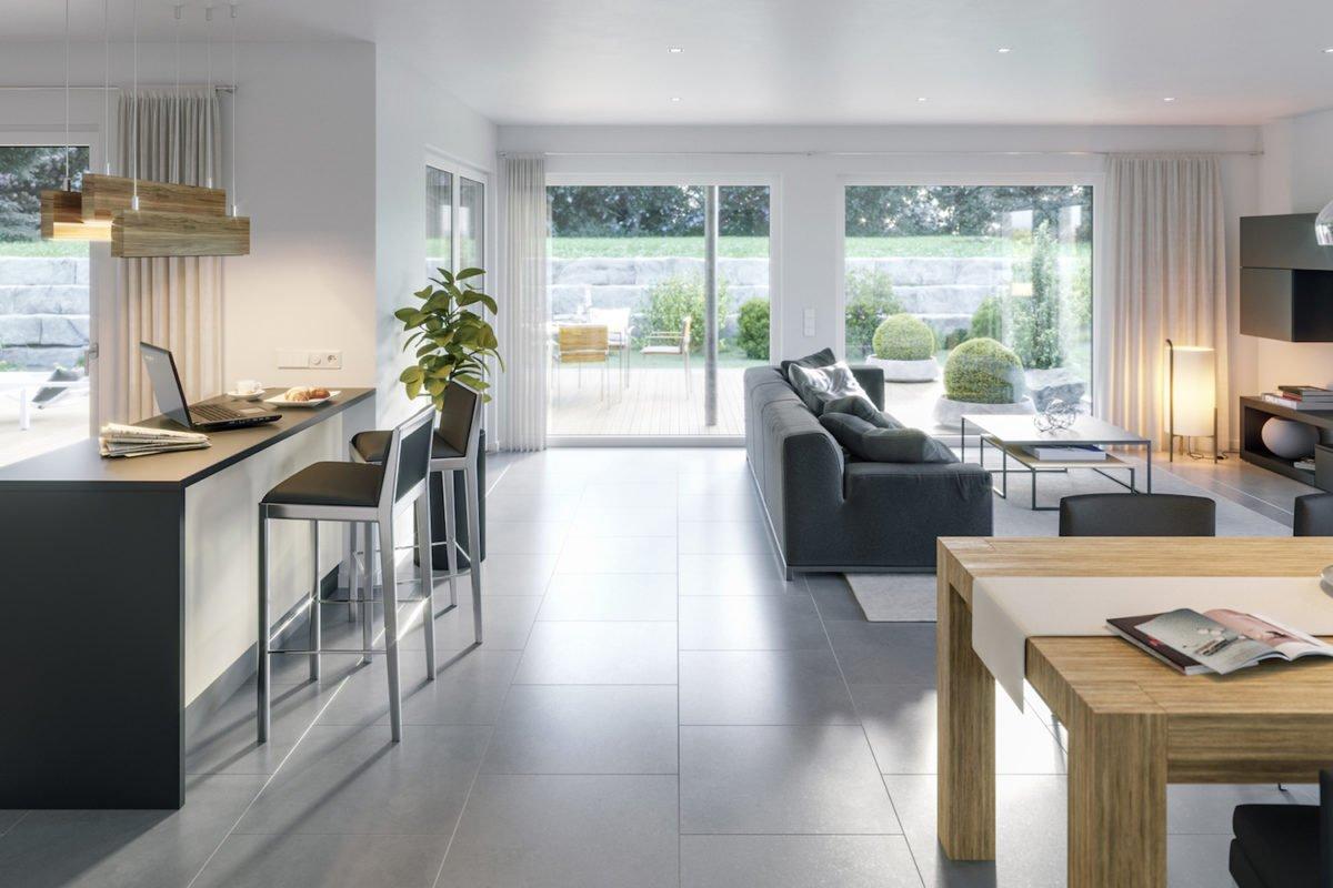 AMBIENCE 88 V3 - Ein Wohnzimmer mit Möbeln und einem großen Fenster - Bungalow