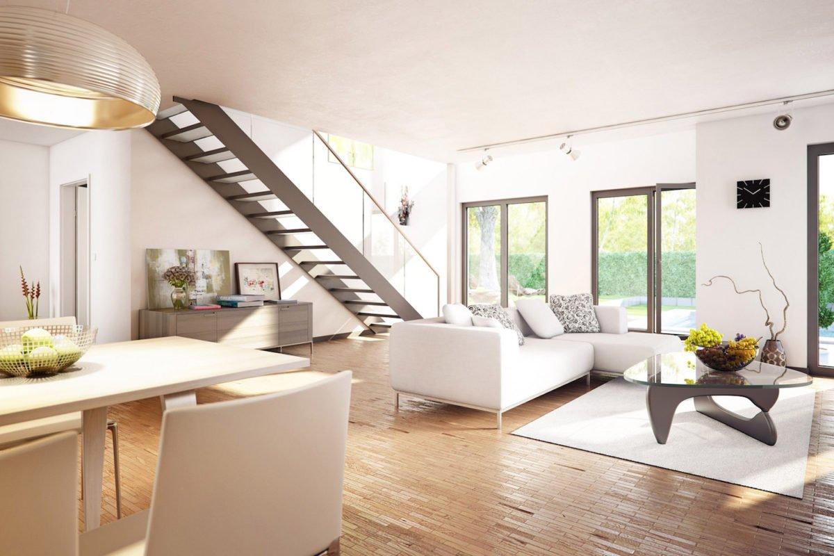 AMBIENCE 100 V5 - Ein Wohnzimmer mit Möbeln und einem großen Fenster - Bien-Zenker