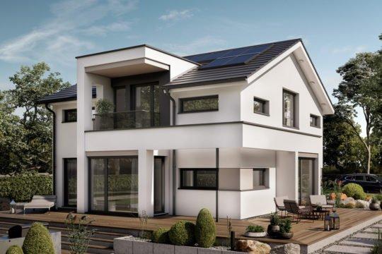 Automatisch gespeicherter Entwurf - Ein Haus mit Bäumen im Hintergrund - Fertighaus