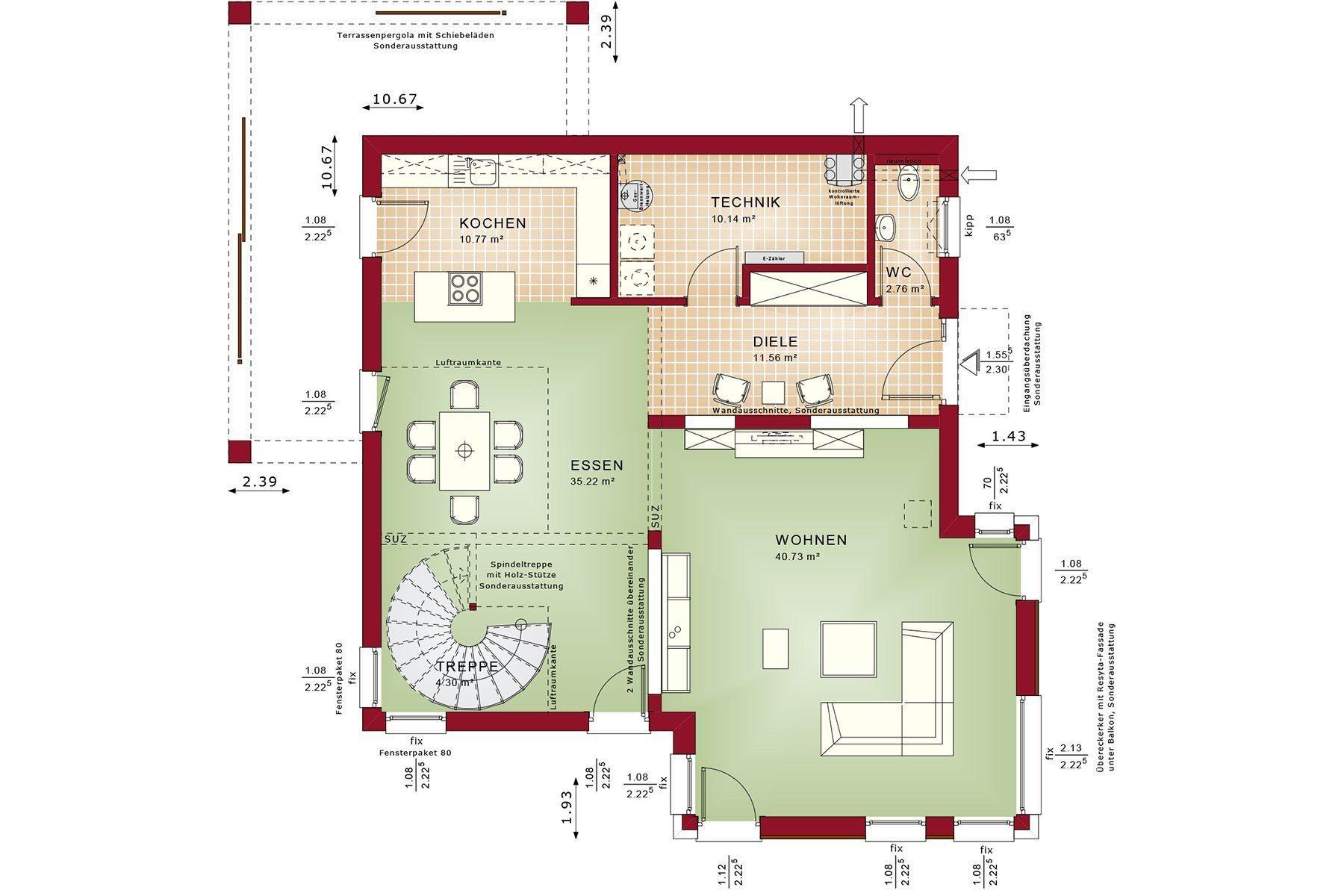 Gebäudeplan - Villa