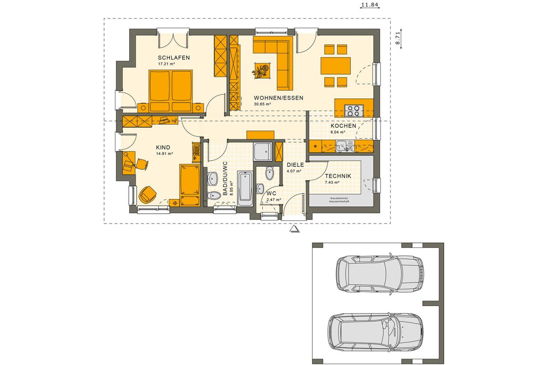 Gebäudeplan - Bungalow