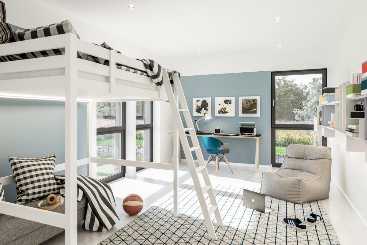 Automatisch gespeicherter Entwurf - Ein Schlafzimmer mit einem Bett und einem Stuhl in einem Raum - Duplex