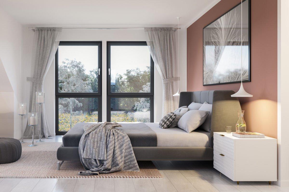 Automatisch gespeicherter Entwurf - Ein Schlafzimmer mit einem Bett und einem Schreibtisch in einem Hotelzimmer - Bien Zenker