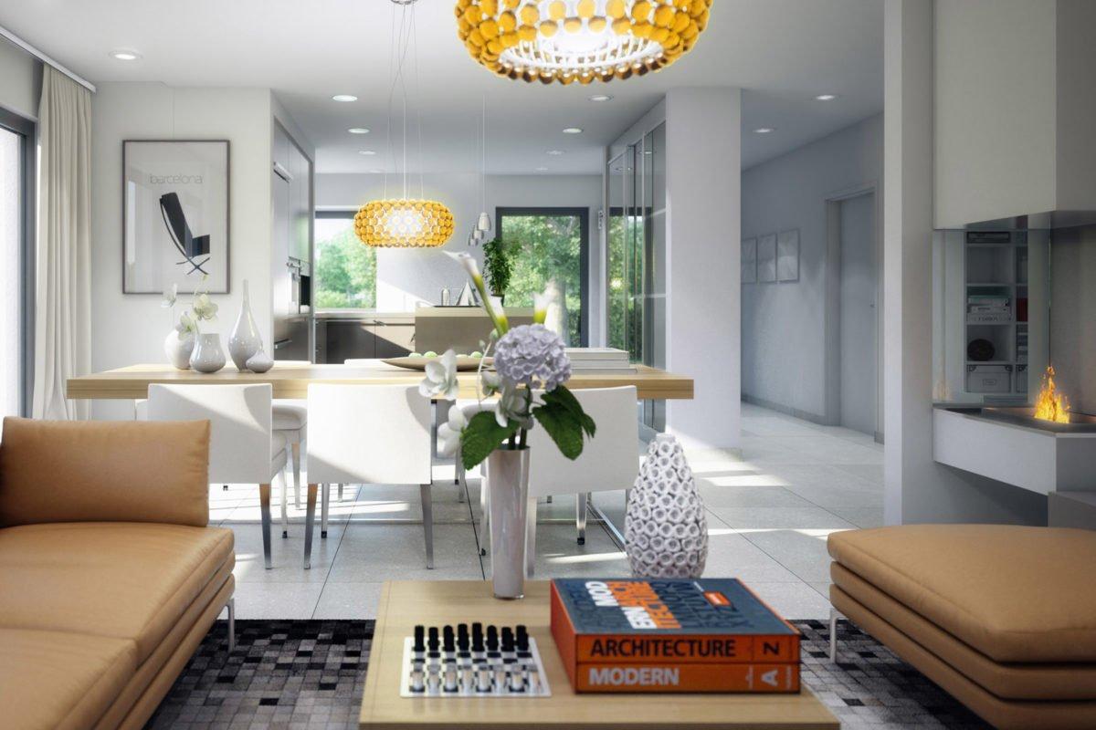CONCEPT-M 152 Pfullingen - Eine Ansicht eines mit Möbeln gefüllten Wohnzimmers und eines großen Fensters - Bien Zenker