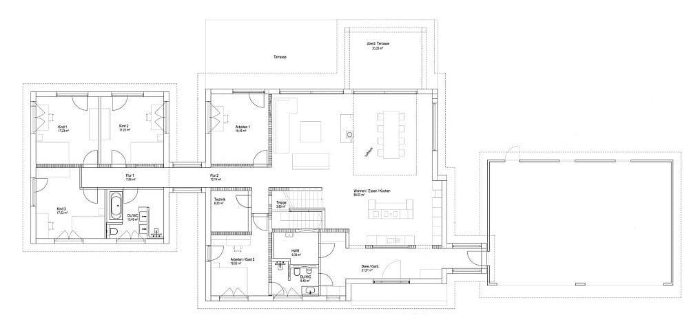 Luxhaus Flachdach 300 Grundriss EG