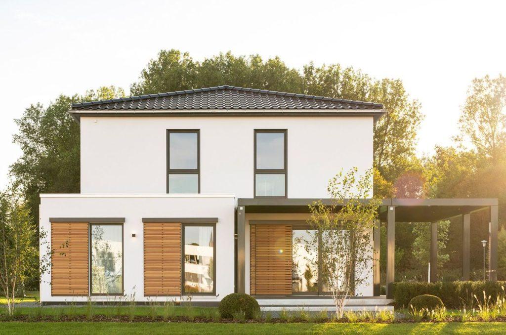 Stadtvilla bauen Fingerhaus Medley 3.0 seitliche Ansicht
