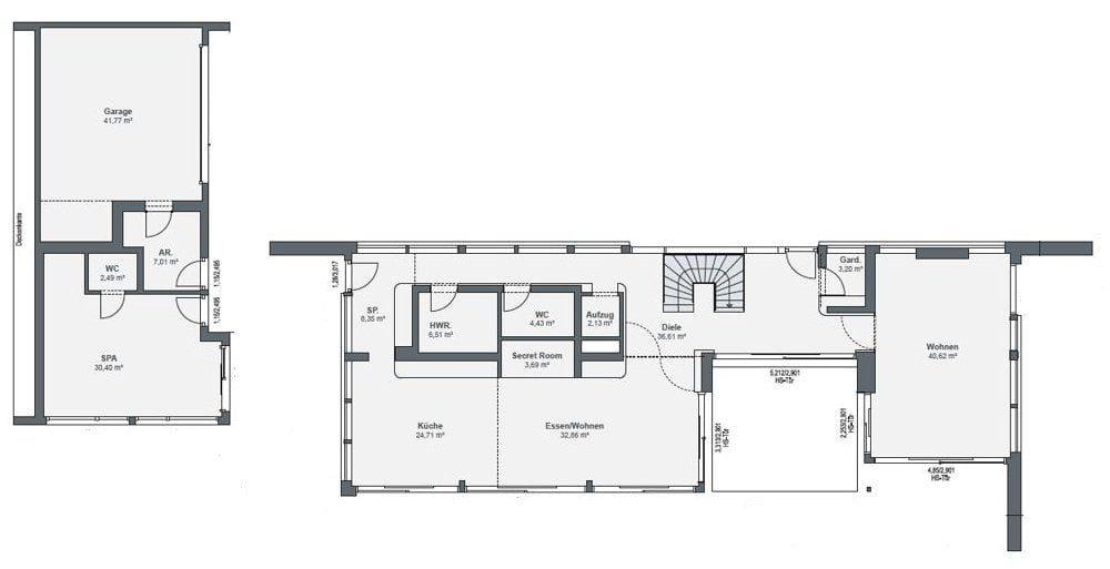 Grundriss Luxusvilla Weberhaus EG