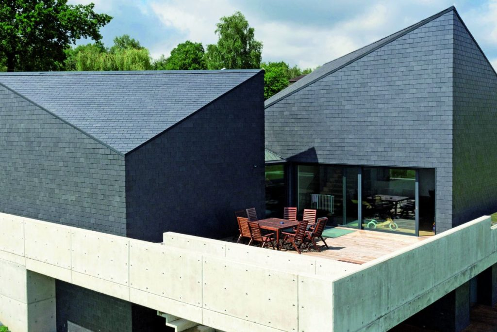 Dachschiefer mit Rechteck-Doppeldeckung