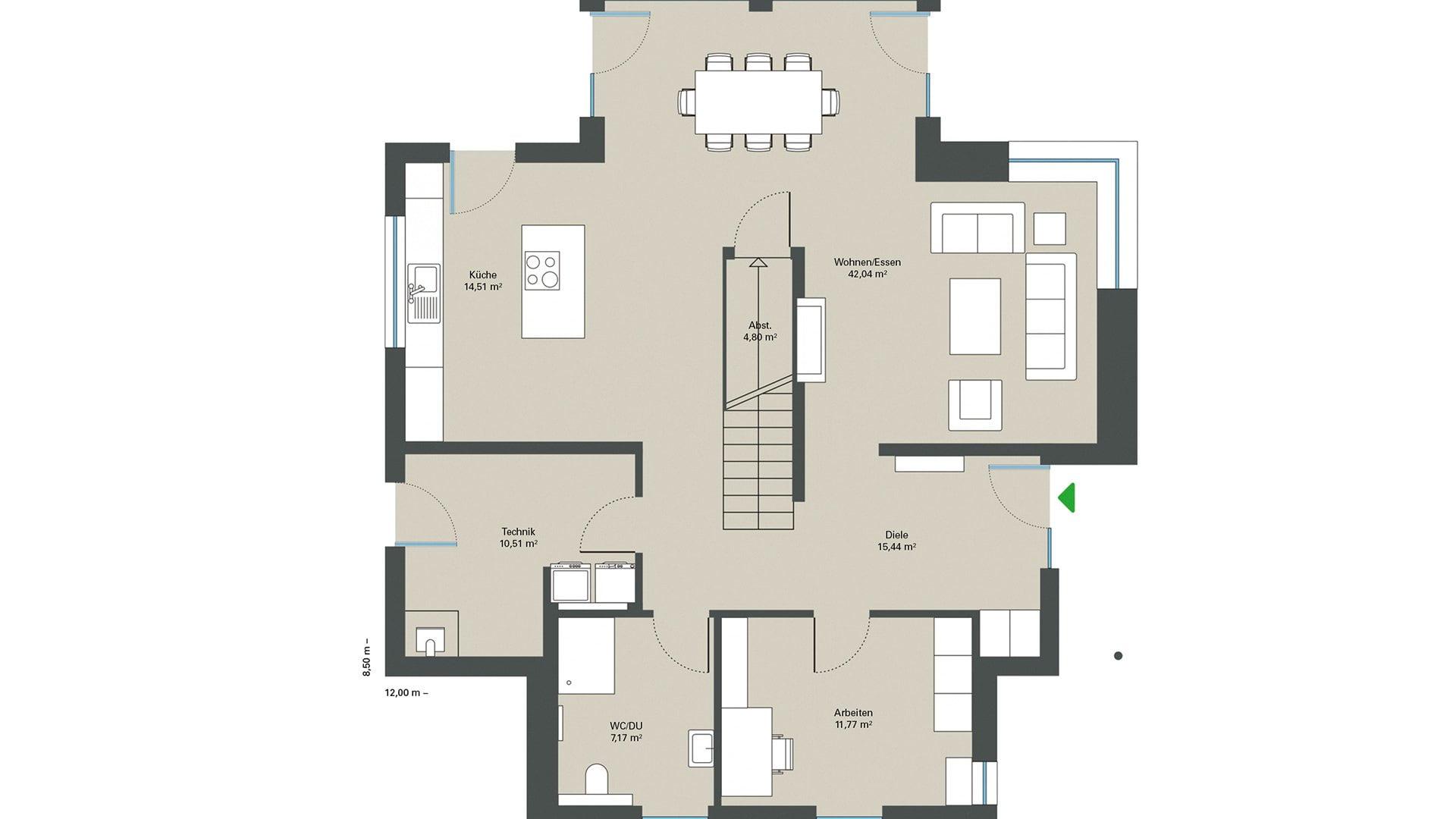 Einfamilienhaus-Grundriss-Gussek Haus ErdgeschossErdgeschoss