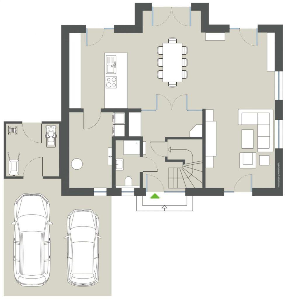 Einfamilienhaus-Grundrissdaarstellung
