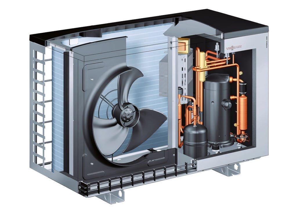 Plusenergiehäuser haben oft eine Luft-Wasser-Wärmepumpe von Viessmann.