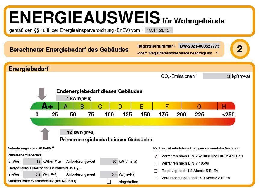 Energieeffizienzklasse Haus: Energieausweis des Musterhauses Villingen-Schwenningen-